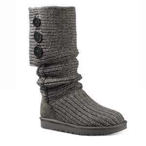Ugg Classic Cardy Boots Grey Sweater Knit Button 7